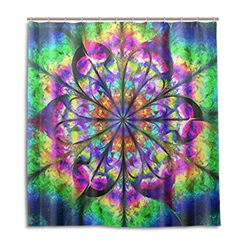 BIGJOKE Cortina de Ducha, Mandala geométrica Resistente al Moho, Impermeable, Tela de poliéster, 12 Ganchos, 167,6 x 182,9 cm, decoración del hogar