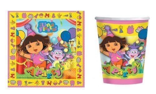 Dora the Explorer 'A Party'Party Set, 16 Servietten &8, Heiß/Kalt, Pappbecher