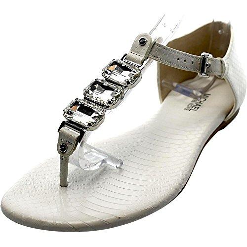 Michael Michael Kors Leslie Femmes Cuir Tongs Optic White