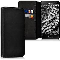 kalibri Hülle für Samsung Galaxy A5 (2016) - Wallet Case Handy Schutzhülle echtes Leder - Klapphülle Cover mit Kartenfach und Ständer Schwarz