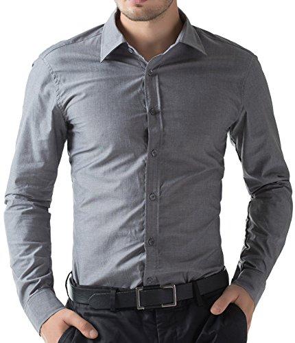 Grau Herren Hemd Casual Slim Fit Langarm Hemd Freizeit Hemd Größe 2XL CL5252-3 (Licht Oxford Grau)