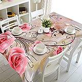 MinegRong Kommode Tischdecke Wasserdichte 3D Tischdecke rechteckige Picknick Runden Tischdecken Kundengebundene Größe Rosa Blume Kissenbezug-Farbe 1,130 cm * 180 cm