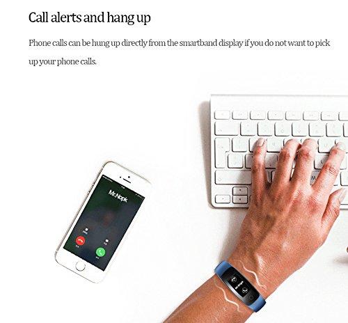 miavogo id107Plus Smart Wristband Armband mit Blut Druck minitoring Smartwatch Sport Armband (Herz- und Sleep Monitor, Kalorienzähler, Call/SMS Benachrichtigung, sitzende Lebensweise Reminder) Fitness Tracker für Android und IOS, blau -