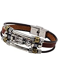 MahaLaxmi MenTastic Brown Leather Steel Dragon Punk Wrist Bracelet Charm Leather Wrap Stylish Bracelet. Daily/Party/Casual Wear Fashion Jewellery for boys