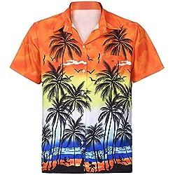 Cebbay Camisa Hawaiana de los Hombres 3D Impreso Bolsillo Moda Delgado Manga Corta Diseño de Palmeras, Playa, Fiesta, Verano y Vacaciones