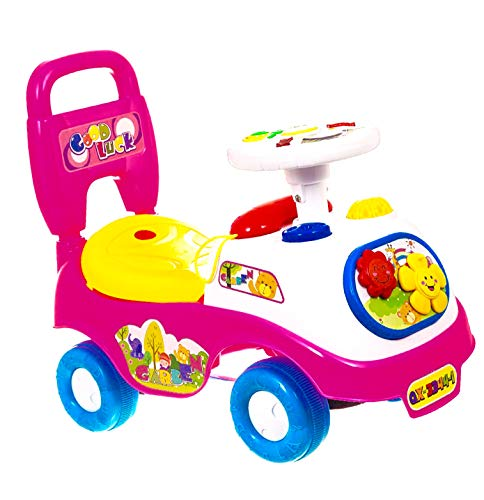 ADEPTNA Push Along My First Ride On Car Kids Toy Cars Boys Girls- First Steps Toddler Walker Learning Toy- Push Button Horn With Sound- Fun And Colourful Ride for Your Toddler (PINK)