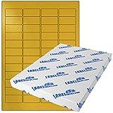 Labelident Etiketten - 46 x 21 mm, rechteckig - Polyester gold, matt, beschichtet, permanent haftend - 1200 Aufkleber, DIN A4 Bogen, 25 Blatt