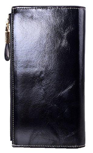 SQLP Donna grande capacità lusso cera vera pelle Portafoglio con tasca con zip Lady portafogli in pelle di alta qualità borsa colore-2