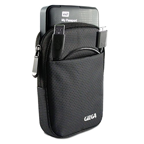 GIZGA Branded 2.5 inch Soft Foam Jacket Pouch - Color: Black, External Portable Hard Disk Drive Carry Cover Protector/ Pouch / Bag/HDD Case