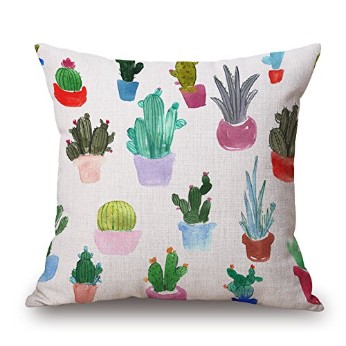 Kaktus Dekorative Kissen Kissenbezug Bedrucken Platz Kissenhülle Wohnnung Sofa Setzen Baumwolle Leinen 45x45 cm (ART 4)