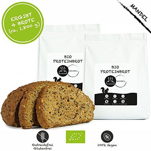LOW-CARB-Brot-Backmischung 2er Pack: 100% Bio   Eiweissbrot 22% Protein   VEGAN & PALEO   Glutenfrei, Hefefrei   ohne Getreide & ohne Zucker   Hergestellt in DE   Ergibt 4 Brote