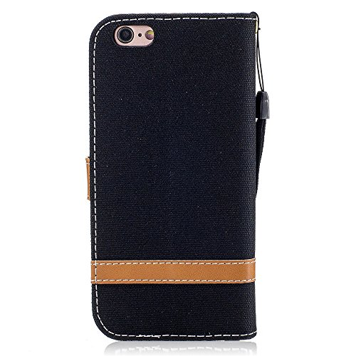 iPhone 6 Plus Case,iPhone 6S Plus Wallet Case [Drop Protection] Canvas Diary [Denim Material] Wallet Case [ID Card / Cash Slot] Stand Flip Cover Shock Absorbing TPU Casing for iPhone 6 Plus BF-6-Plus-74