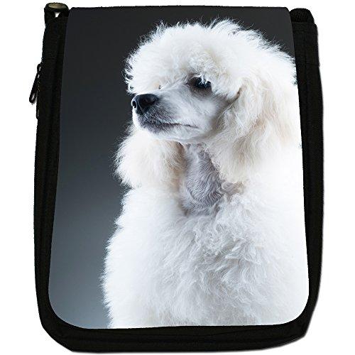 Barboncino caniche barbone Fluffy cane medio nero borsa in tela, taglia M Elegant White Poodle Portrait