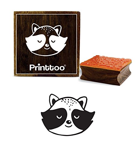 Printtoo Scrap- booking Racoon Tier Gesicht Design Square Holz Stempel-2 x 2 Zoll -