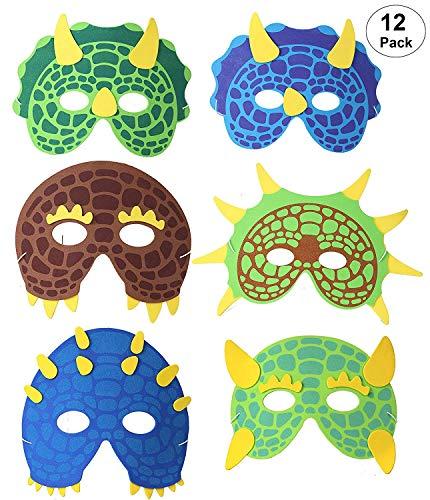 OOTSR 12 Piezas Máscaras de Dinosaurio para niños, máscaras de Espuma...