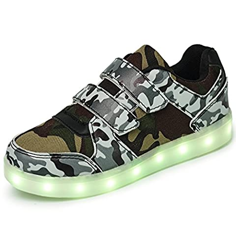 DoGeek - LED Light Up Trainers - Boys Girls Casual Shoes -7 Colors Light USB Charger