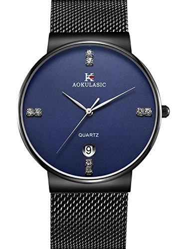 AOKULASIC Fashion Date Analog Quartz Waterproof Wrist Watch with Slim Stainless Steel Mesh Band (Black & Blue)