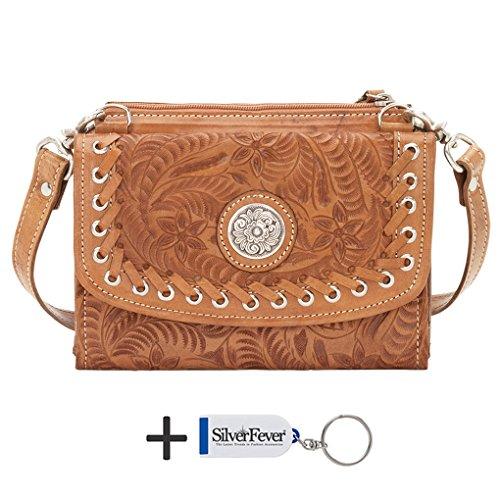 American West Two Step bandoulière Porte-monnaie Sac à main en cuir brun Light Brown
