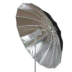 Fovitec Studiopro Professional Strobe Speedlight Flash Reflector Silver Black Reflective Parabolic Umbrella - 6 Feet