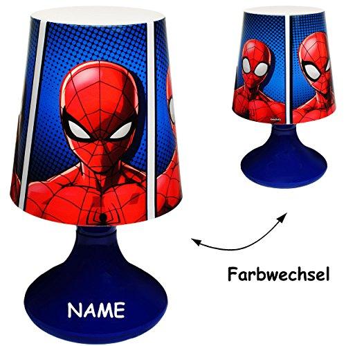 alles-meine.de GmbH LED Tischlampe -  Ultimate Spider-Man  - inkl. Name - mit Farbwechsel - Batteriebetrieben - SCHNURLOS & Kabellos - 19 cm hoch - Tischleuchte für Kinder / NA..