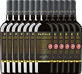 VINELLO 12er Weinpaket Primitivo - Papale Linea Oro Primitivo di Manduria 2016 - Varvaglione mit Weinausgießer | halbtrockener Rotwein | italienischer Wein aus Apulien | 12 x 0,75 Liter