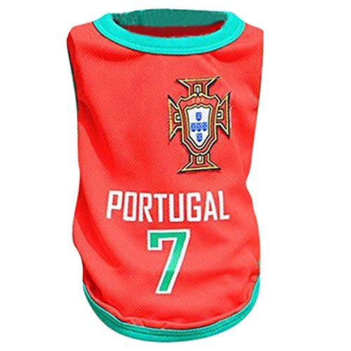 Kingnew Pet Fußball Kleidung Welt Cup Jersey Atmungsaktive Sportbekleidung für Outdoor Sommer (Portugal, L) -