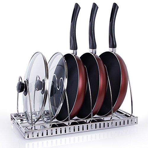 Lifewit Adjustable Pan Rack Pot Lid Holder, Cookware Bakeware Holder for Cabinet Worktop Storage, 18/10 Stainless Steel