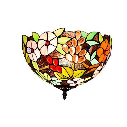 Qwey Glasmalerei Deckenleuchte Tiffany Deckenleuchten E27 x 2 Birne 12 Zoll Unterputz Flur Wohnzimmer Schlafzimmer Blumenmuster,110V -