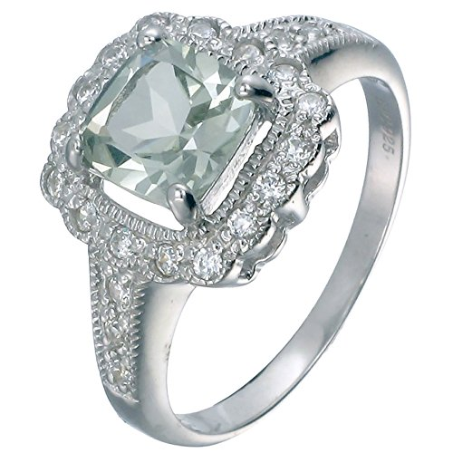 Vir Jewels, Ringe Damen 925 Sterling Silber Grün Amethyst 1.1 CT, Größe 49 (15.6) Größe 10 Ring-amethyst
