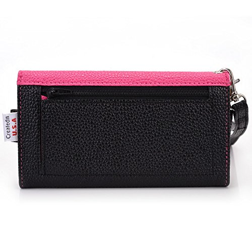 Kroo Transport Wallet Wristlet Étui pour Samsung Galaxy Trend Plus/Ace 3/Xcover 2 Blue Houndstooth and Blue Magenta and Black