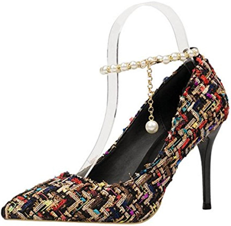 FZHLY - Sandalias de mujer con cadena de perlas de lana, negro, 39