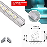 MKGT® 5 x 0,5 m Aluminium-LED-Profilkanal mit opaler/milchiger Abdeckung für 12 V 24 V LED-Lichtstreifen, einfarbig RGB/RGBW 3528 5050 5630 PVC-Extrusion, aluminium, Corner 30°
