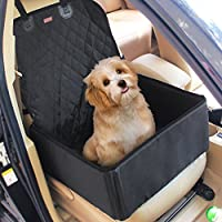 2 in 1 Pet Dog Car Supplies Thick Waterproof Single Front Seat Pet Car Mat Booster Bag Pet Carrier Seat Protector Travelling (Black)
