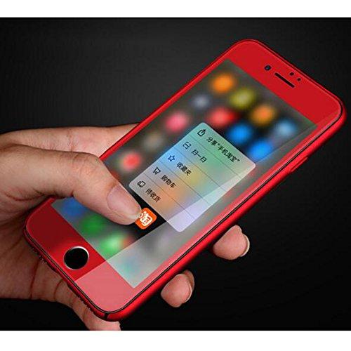 2-in-1 Cover iPhone 6/6s Plus Favo Anti-Surriscaldare Matte Custodia Bumper + Copertura Completa Pellicola Protettiva,JELLYEA 360° Ultra-Sottile Ultra-Leggera Anti-Graffio Case Caso per Apple6/6s Plus Rosso