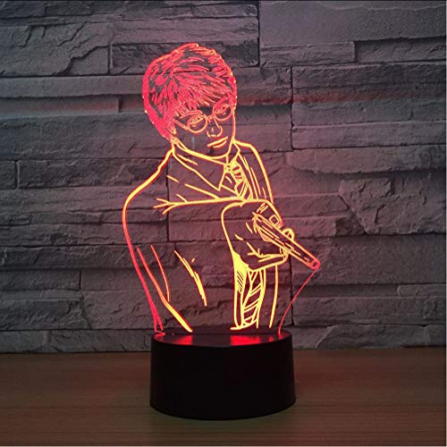 Zlxzlx Kreative Usb 7 Farben Ändern 3D Vision Männlichen Lehrer Modellierung Schreibtischlampe Led Klassenzimmer Atmosphäre Dekor Baby Schlaf Nachtlicht