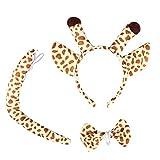 She's Shining Orejas de animales Diadema y pajarita y accesorios de conjunto de cola para disfraces Jirafa