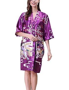 Donna Vestaglie Scollo a V Kimono Corto da Notte in Raso Con Cintura Pavone Raso Fiore Pigiama Viola XL