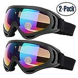 Yithings Gafas de esquí 2 Piezas Gafas al Aire Libre de Nieve Gafas de Protección UV 400 a Prueba de Viento para El Ciclismo de Esquí Motociclismo para Hombres, Mujeres, niños (Multicolour)