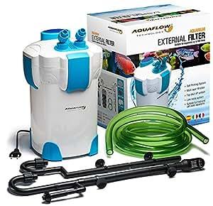 Contenitore Filtro Esterno 4 Livelli 3+1 per Acquario Aquaflow Technology AEF-303UV dotato di Sterilizzatore UV/filtrazione multipla a 3 strati, sistema valvola di arresto, per Acqua Dolce & Salata / Garantisce Acqua Limpida & Controllo di Alghe e Batteri