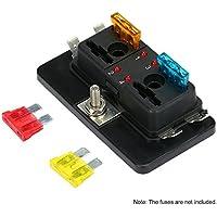KKmoon Caja de Fusibles 4 Vías Portafusibles con Lámpara de Alerta LED Kit para Coche Barco Marino Triciclo 12V 24V
