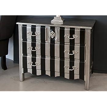 Kommode schwarz antik  Casa Padrino Barock Kommode Silber / Schwarz Streifen 94cm - Antik ...