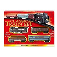 KandyToys Classic Train Track Set - Battery Operated Train Set with 4 Cars & 2.8m Track