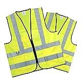 Erwachsene Tasche Detail Gelb Hi Vis Reflektierende Reißverschluss Warnweste - x 2