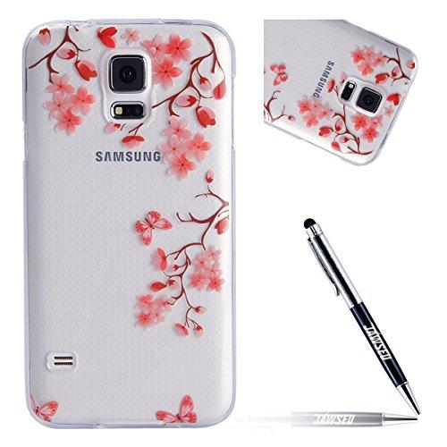 Kompatibel mit Samsung Galaxy S5 Hülle Schmetterling Blumen Transparent Crystal Clear Silikon Gel Schutzhülle Durchsichtig TPU Silicone Bumper Schutz Handy Hülle Case Tasche Etui,Pink Blumen