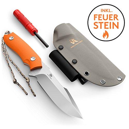 Wolfgangs Outdoor-Messer mit Kydex Stück D2 Stahl gefertigt - Inklusive Feuer-Starter und Notpfeife...