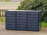 3er Mülltonnenbox / Mülltonnenverkleidung 240 L Holz, Deckend Geölt Anthrazit Grau