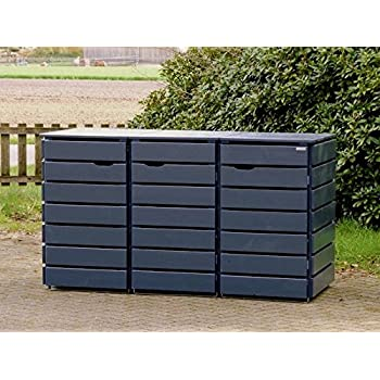 3er m lltonnenbox m lltonnenverkleidung 240 l holz deckend ge lt anthrazit grau. Black Bedroom Furniture Sets. Home Design Ideas