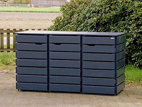 3er Mülltonnenbox / Mülltonnenverkleidung 120 L Holz, Deckend Geölt Anthrazit Grau