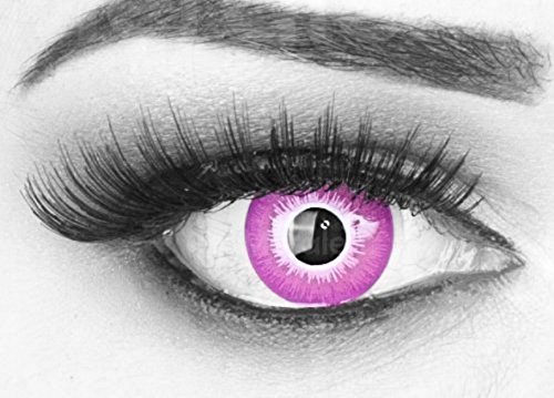 MeralenS 1 Paar farbige rosa violet crazy Fun Jahres Kontaktlinsen Motivlinsen Acid Candy mit gratis Linsenbehälter. Ideal zu Fasching, Karneval und Halloween (Die In Halloween-kostüme Welt Scary)