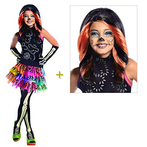 Kinder Komplett-Set Skelita Calaveras / Monster High Kostüm & Perücke / Halloween & Karneval Mädchen Party (140/146)
